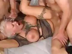 Short haired blond woman gets hard sex