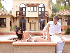 Glamour chick gets fucked by a horny masseur in her villa
