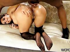 Cunning milf gets her snatch smacked by huge black cock