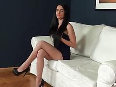 Solo girl with divine body fingers her gaping pussy